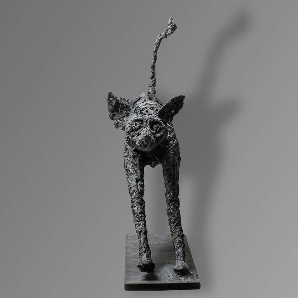 sculpture cat iron steel